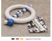 Baby Greifling Rassel Beißring | Holz Lernspielzeug als Geschenk zur Geburt & Taufe | Motiv Fussball in Vereinsfarben - blau, weiß