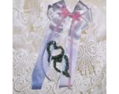 Baby Taufe Schleife für Taufkissen Kissenschleife mit Herzen sehr edel alle Farben ITP030 (weiß/rosa)