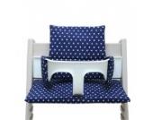 Blausberg Baby - Sitzkissen *41 FARBEN* Kissen Polster Set für Stokke Tripp Trapp Hochstuhl (Blau Marine Sterne) alle Materialien OEKO-TEX ® Standard 100 zertifiziert - 100% made in Hamburg