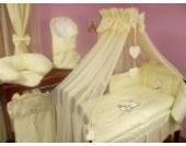 Lux4Kids Kinderbettausstattung Bett Set 135x100 Nestchen Wickelauflage Himmel & Stange Mobile Kopfkissen Spannbettlacken 10 Herz Ecru