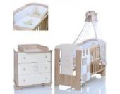 Baby- und Kinderzimmer Möbel Set Bär Beige; Kinderbett 120x60; Wickelkommode; 9 tlg Bettwäsche Set