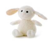 Kuscheltier Schaf aus Biobaumwolle weiß - Bestickung jzweiseitig je max. 10 Zeichen- von STEINER- Stofftier handgefertigt |kuschliges Schäfchen zählen |kleine, süße Geschenk-Idee für Weihnachten