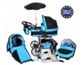 Twing - 3 in 1 Reisesystem einschließlich Kinderwagen mit schwenkbaren Rädern, Kinderautositz, Buggy und Zubehör - Schwarz und Türkis