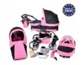 Twing - 3 in 1 Reisesystem einschließlich Kinderwagen mit schwenkbaren Rädern, Kinderautositz, Buggy und Zubehör - Schwarz und Rosa