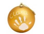 Baby Art Bastelset: Weihnachtskugel für Handabdruck und Namen des Kindes  zum Selbstbemalen, matt gold