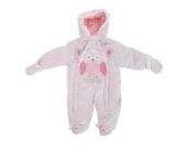 Baby Schneeanzug mit Kapuze, Eule, Will Always Be Your Friend (Neugeborene) (Pink)