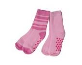 2 Paar Kinder ABS Socken/Söckchen 4 Größen 2 Farben verschiedene Dessins (98/104, Rosa/Geringelt)