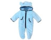 MIKIKIDS Baby Overall Kinder Unisex Jungen Mädchen Schlafanzug Baumwolle Fleeceanzug Schneeanzug Winter Jumpsuit mit Kapuze 90 - Blau