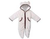 MIKIKIDS Baby Overall Kinder Unisex Jungen Mädchen Schlafanzug Baumwolle Fleeceanzug Schneeanzug Winter Jumpsuit mit Kapuze 95 - Weiß