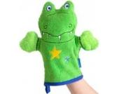 Morgenstern, Figuren - Waschhandschuh, Motiv Krokodil, Farbe grün, Material Baumwolle, Handpuppe, Waschlappen