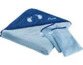 Kinderbutt Frottierset 3-tlg. inkl. Bestickung - mit Namen - personalisiert - Frottier Kapuzenbadetuch - Waschlappen - hellblau - Größe 100x100 cm + 15x21 cm - 100% Baumwolle