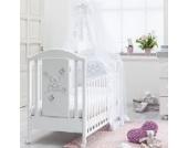 Babyzimmer komplett SOPHIA mit Babybett, Wickeltisch und Badewanne, hochwertigen Textilien und Betthimmel 6teilig