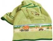 Kinderbutt Frottier-Set 3-tlg. mit hochwertigem Stickmotiv, Bagger 2x Frottier kiwi