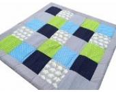 ULLENBOOM ® Baby Krabbeldecke Elefant Blau Grün (100x100 cm Baby Kuscheldecke, ideal als Laufgittereinlage, Spieldecke, Motiv: Sterne)