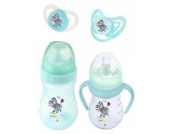 4er Set: 2 x Baby Flasche + 2 x Schnuller Hippo blau
