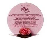 Taufkerze aus Palmöl mit Taufspruch rosa Premiumkerze-M-330LL inkl. gratis Beschriftung + gratis Herzkerze als Geschenk