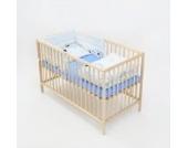 6-tlg. Baby-Bettwäsche-Set Decke 150x120 Bettzeug Bettbezug für Babybett 140x70 (Muster: Hund mit Knochen_puderblau)