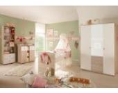 4-tlg. Babyzimmer komplett Set WIKI 2 in Eiche Sonoma / Weiß Babymöbel Komplettset mit grossem Kleiderschrank mit 3 Türen (davon 1 Spiegeltür), Babybett, Lattenrost, Wickelkommode mit Wickelaufsatz und Standregal, Komplettzimmer Möbel komplett Set Ki