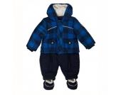 Kanz Boys Baby Schneeanzug yard check blue - blau