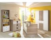 Babyzimmer WIKI 4 in Eiche Sonoma / Weiß - 4-tlg Babymöbel komplett Set mit großem Schrank, Babybett, Lattenrost, Regal und Wickelkommode mit Wickelaufsatz
