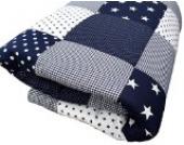 ULLENBOOM ® Baby Krabbeldecke Blaue Sterne (120x120 cm Baby Kuscheldecke, ideal als Laufgittereinlage, Spieldecke, Motiv: Punkte, Patchwork)