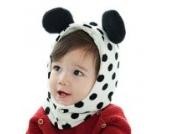 La vogue Baby Strickmütze mit Schal Mützen mit integriertem Schal (Weiß)