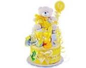 MomsStory - Windeltorte neutral | Teddy Bär | Geschenk zur Geburt, Taufe, Babyshower | 2 Stöckig (Gelb) | Babygeschenk für Jungen & Mädchen
