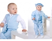 SWEET MOMENT`s Nr.3.1 SCHICKER Taufanzug Smoking Anzug-Set 6-teilig HELLBLAU gestreift Gr��e 62-116