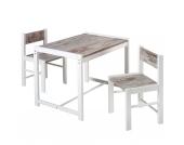 Kindersitzgruppe Sammy, 2 Stühle/ 1 Tisch, shabby chic/buche massiv weiß