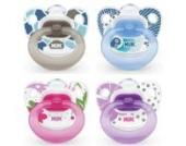 NUK 10175004 - Silikon Beruhigungssauger (Schnuller) Happy Days, Größe 1 (0-6 Monate), kiefergerecht, BPA-frei, 2 Stück, Farbe nicht frei wählbar