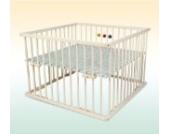 Kidsmax Laufgitter Laufstall David 75x100 weiß lackiert inkl. Spielkugeln, Polsterboden, Schlupfsprossen, Höhenverstellung und Rollen