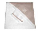 Badetuch mit Kapuze + Waschlappen - weiss/beige (0-24 Monate)
