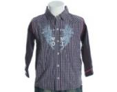 miniman Karo Langarm Hemd Blau 74