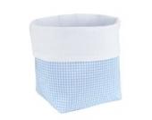 Sugarapple Utensilo Stoff Aufbewahrungsbox aus Baumwolle 19 x 13,5 x 13,5 cm, Stoffbox fürs Bad, als Wickeltisch Organizer oder Windelspender Korb, Karo hellblau