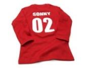 Nappy Head Individuelles Baby/Kinder-T-Shirt - Rot mit langen Ärmeln (Fußballhemd),12-18 Monate