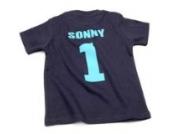 Nappy Head Individuelles Baby/Kinder-T-Shirt - Marineblau mit kurzen Ärmeln (Fußballhemd),6-12 Monate