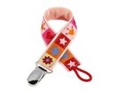 boubalou Schnullerband Little Fun Schnullerkette aus Stoff, rosa für Mädchen, Universalbefestigung für alle Schnuller