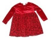 Rose Cottage Weihnachtskleid Zweiteiler zweiteilig rot mit Blmenmuster Oberteil Pannet Samt rot Schleife Bolero Jäckchen Gr. 98/104 (US 4)