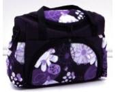 Wickeltasche Kinderwagentasche Lila + Blumen #23 mit Wickelunterlage