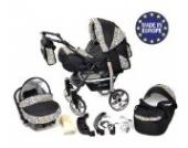 Sportive X2 - 3 in 1 Reisesystem einschließlich Kinderwagen mit schwenkbaren Rädern, Kinderautositz, Buggy und Zubehör (3 in 1 Reisesystem, Schwarz und Leopard)