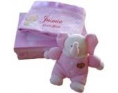 Baby Geschenkset rosa MIT NAMEN BESTICKT Babydecke Rassel Taufe Geburt Geschenk