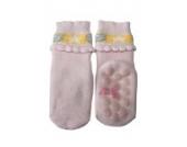 Weri Spezials Vol-Frotee Baby-ABS Soeckchen mit einer 3-D Ruesche in h.Rosa, Gr.13-14 (0-3 Monate)