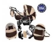 Sportive X2-3 in 1 Reisesystem einschließlich Kinderwagen mit schwenkbaren Rädern, Kinderautositz, Buggy und Zubehör (3 in 1 Reisesystem, Braun, Beige)