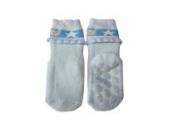 Weri Spezials Vol-Frotee Baby-ABS Soeckchen mit einer 3-D Ruesche in h.Blau, Gr.13-14 (0-3 Monate)