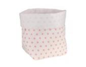 Sugarapple Utensilo Stoff Aufbewahrungsbox aus Baumwolle 19 x 13,5 x 13,5 cm, Stoffbox fürs Bad, als Wickeltisch Organizer oder Windelspender Korb, Sterne rosa