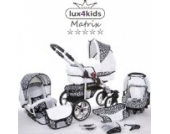 Chilly Kids Matrix II Kinderwagen Komplettset (Autositz & Adapter, Regenschutz, Moskitonetz, Schwenkräder) 59 Weiß & Leopard