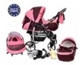 Sportive X2-3 in 1 Reisesystem einschließlich Kinderwagen mit schwenkbaren Rädern, Kinderautositz, Buggy und Zubehör, 3 in 1 Reisesystem, Dunkelrot, Rosa