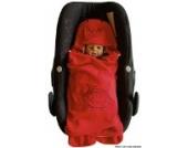 ByBoom®–Einschlagdecke kuschelig Universal für die Übergangszeit und Sommer für Babyschale, Autositz (z.B. für Maxi-Cosi, Römer), Kinderwagen, Buggy oder Babybett, Farbe: rot–Marienkäfer