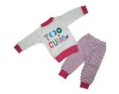 Baby Schlafanzug 2 teilig Weiß/Pink Größe 68 Too Cutie