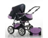 "14 teiliges Qualitäts-Kinderwagenset 2 in 1 ""FLASH"": Kinderwagen + Buggy - Megaset – all inklusive Paket in Farbe SCHWARZ-LAVENDEL"